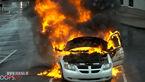 ترس و وحشت هنگام انفجار یک خودروی لوکس در آتش / زن و شوهر در حال فیلم برداری بودند+فیلم