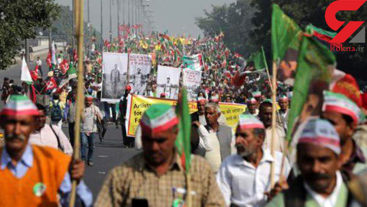 چند هزار کشاورز هندی علیه دولت تظاهرات کردند
