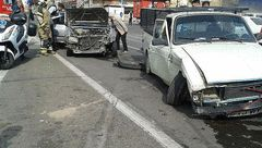 مصدومیت دو سرنشین در تصادف دو خودرو با یکدیگر