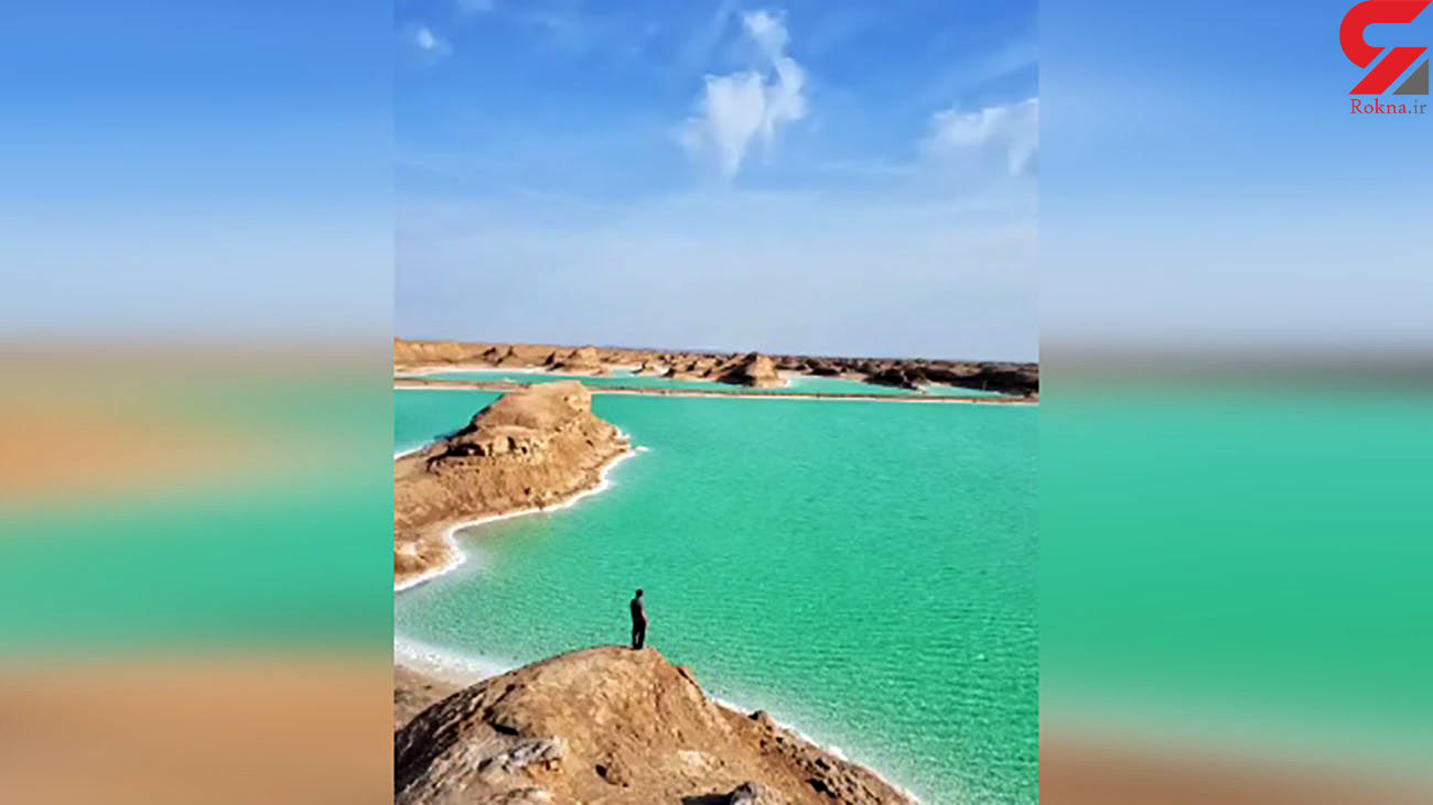 خلق دریاچه نمکی بعد از سیلاب در کرمان + فیلم