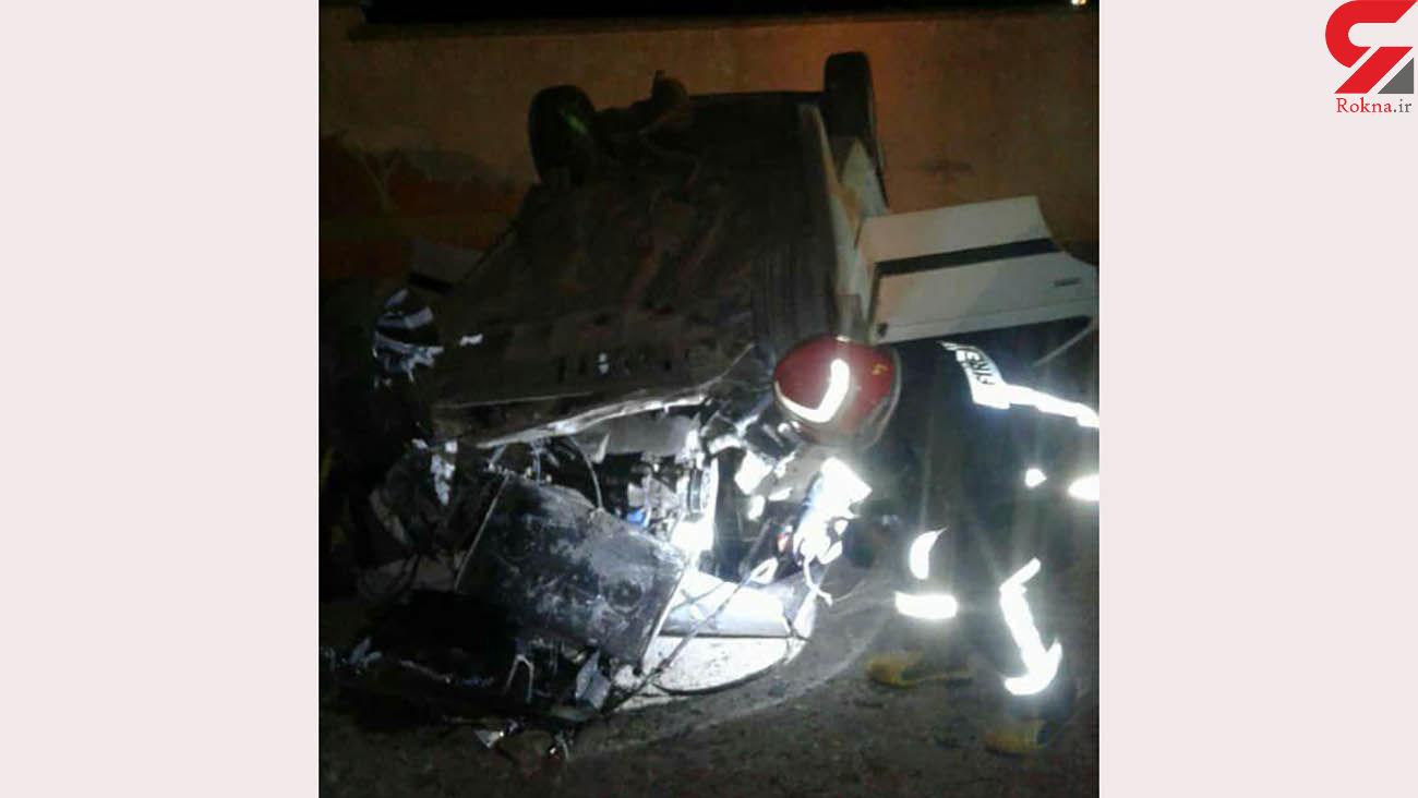 تصادف خونین خودرو با دیوار فرودگاه / 3 نفر مصدوم شدند /خرم آباد + عکس