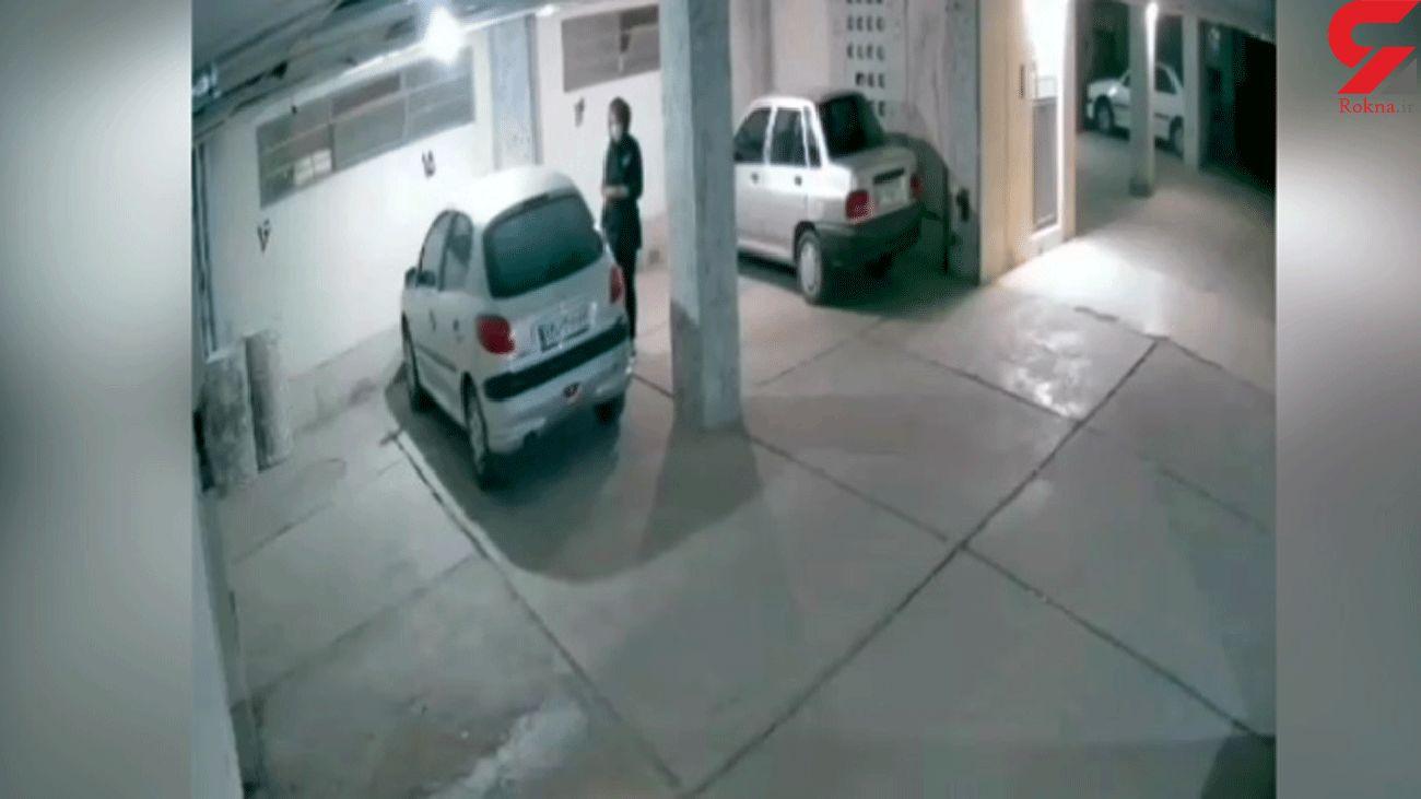 فیلم لحظه سرقت زن تهرانی از پارکینگ یک خانه