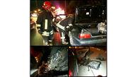 آتش سوزی خطرناک  پژو در خیابان های  مشهد+ عکس