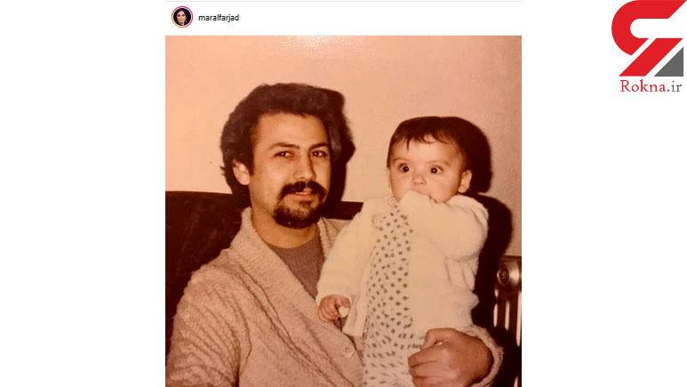 خانم بازیگر در آغوش پدرش