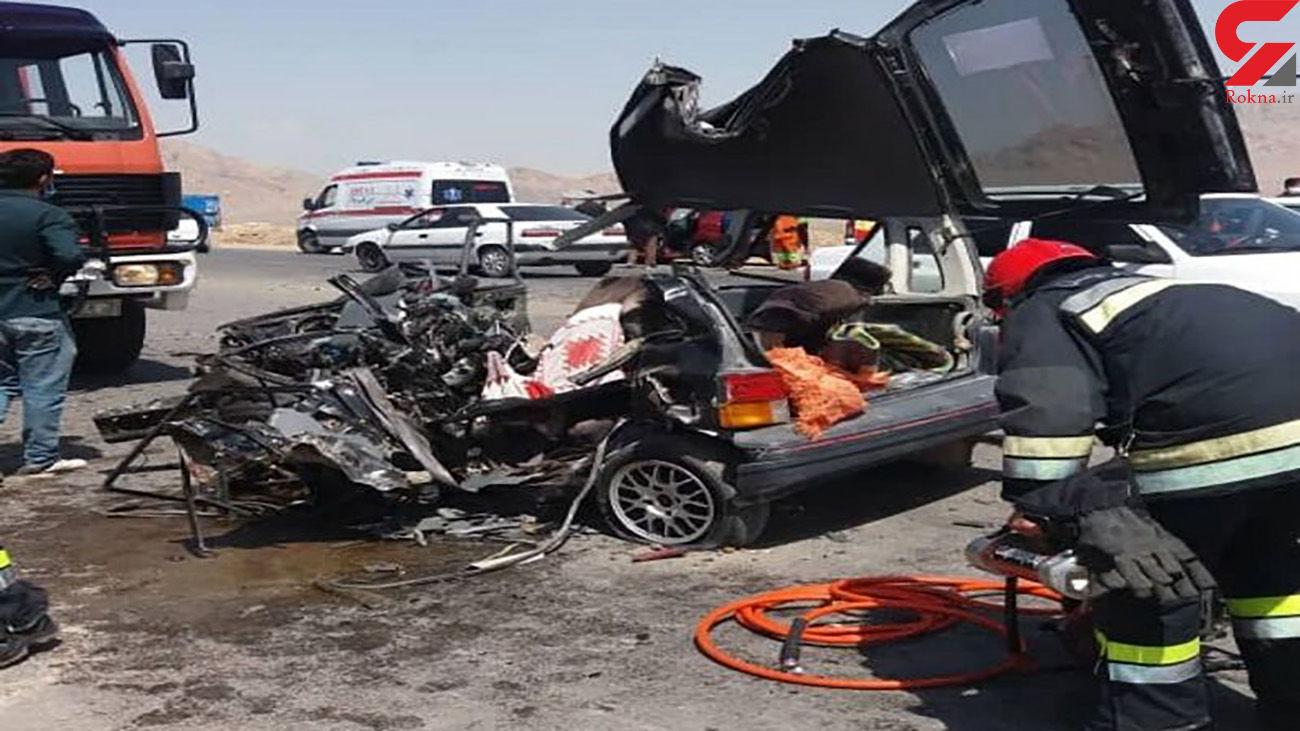 2 زن اصفهانی در این پراید له شده کشته شدند + عکس