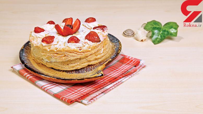 کیک هزار ورق با توت فرنگی / آشپزی در قرنطینه کرونا