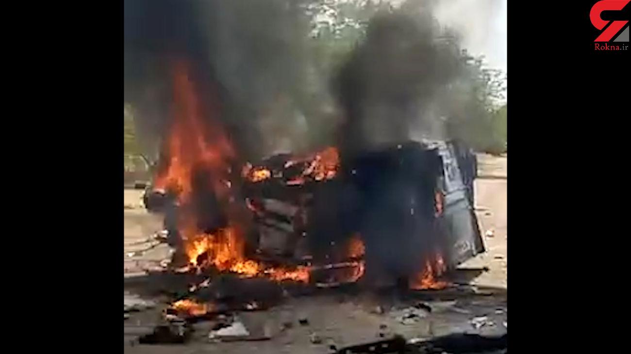 فیلم 16+/  راننده زنده زنده در  آتش سوخت / در جاده  اندیمشک رخ داد + عکس