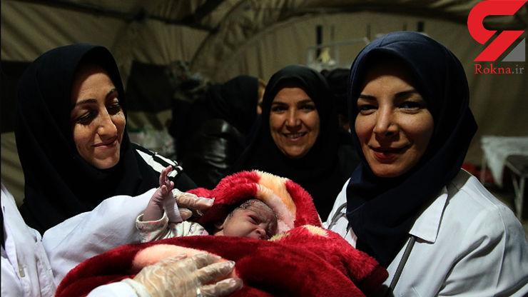 تولد دختری در بیمارستان صحرایی شهر زلزله زده سرپل ذهاب موجی از شادی بوجود آورد +عکس نوزاد