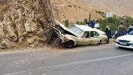 برخورد عجیب خودروی آمریکایی با کوه در جاده چالوس + عکس