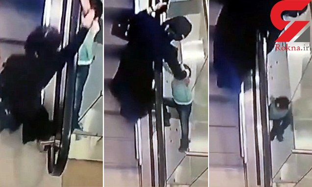 سقوط دختر 5 ساله از پله برقی