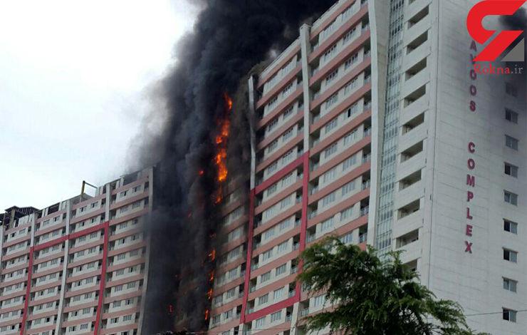 ۱۴ نفر در حریق برجها مصدوم شدند+عکس
