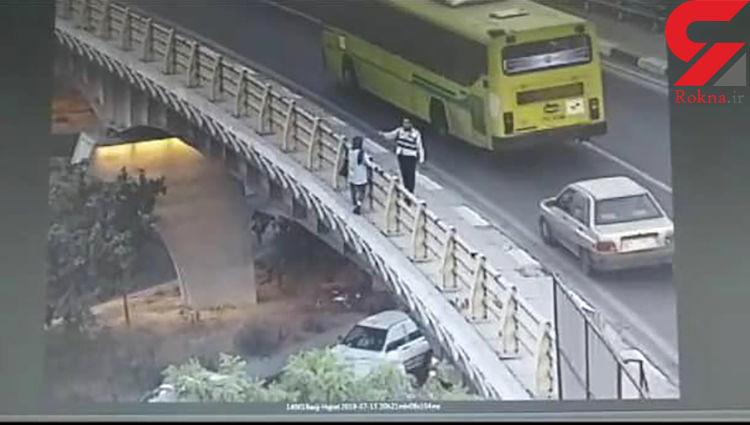 پلیس راهور فرشته نجات یک دختر تهرانی شد + عکس لحظه خودکشی دختر 18 ساله
