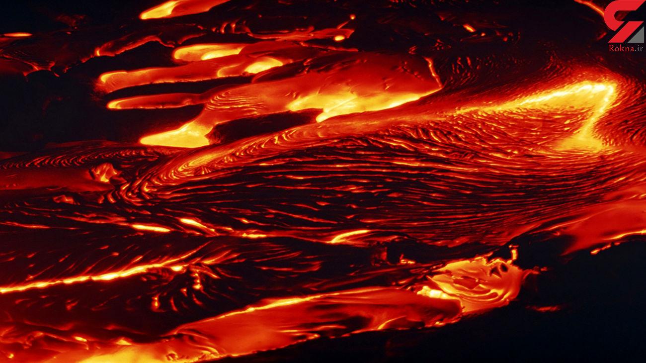 فیلمبرداری پهپاد از مواد مذاب آتشفشان + فیلم