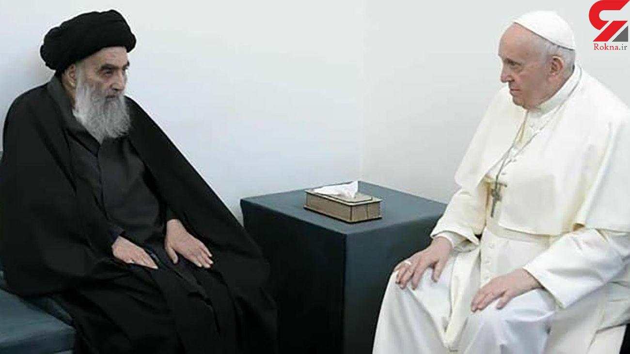دیدارآیت الله سیستانی با  پاپ درپشت درهای بسته / هیچ شخصی اجازه ورود نداشت