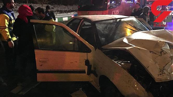 مصدومیت سه شهروند در تصادف بامدادی + عکس