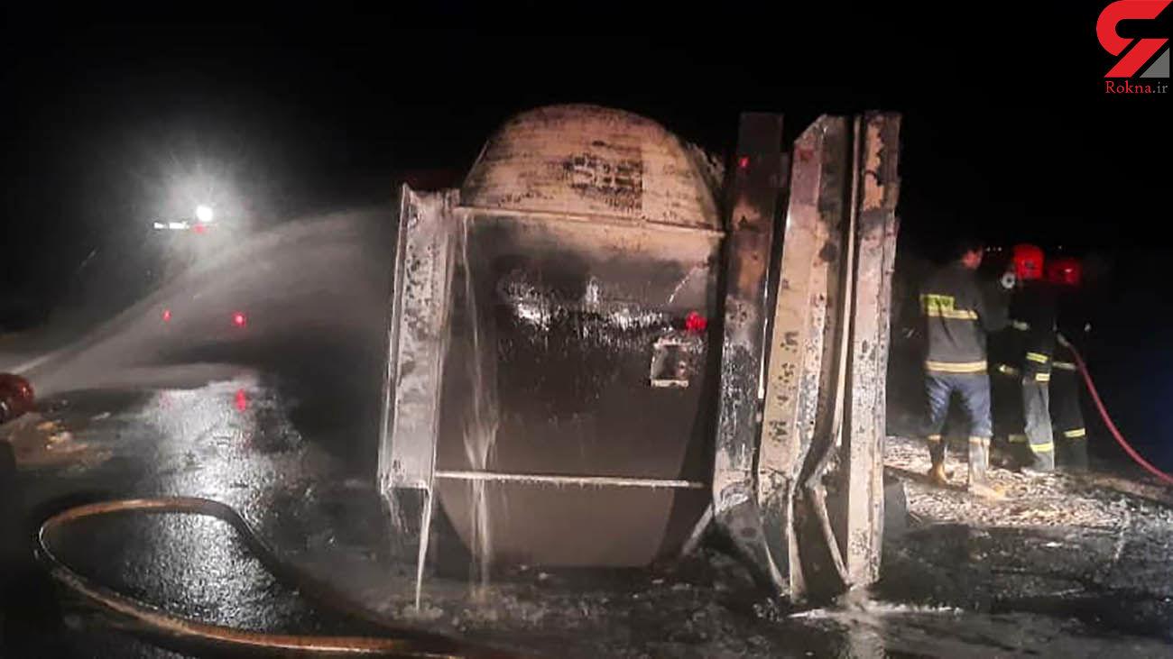 آتش تانکر سوخت پس از 4 ساعت خاموش شد / در کرمان رخ داد