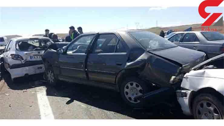 یک کشته و 7 مصدوم در تصادف زنجیرهای+عکس