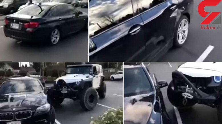 اقدام وحشیانه راننده عصبانی با خودروی لوکس در پارکینگ +فیلم و عکس