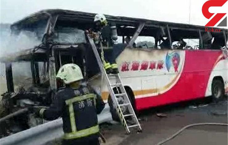 26 مسافر اتوبوس در مسیر فرودگاه زنده زنده در آتش سوختند+تصاویر
