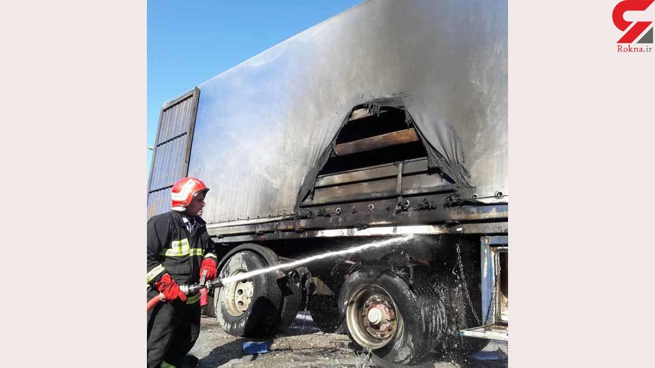 کامیون سنگین در آتش سوزی سوخت /کرمانشاه + عکس