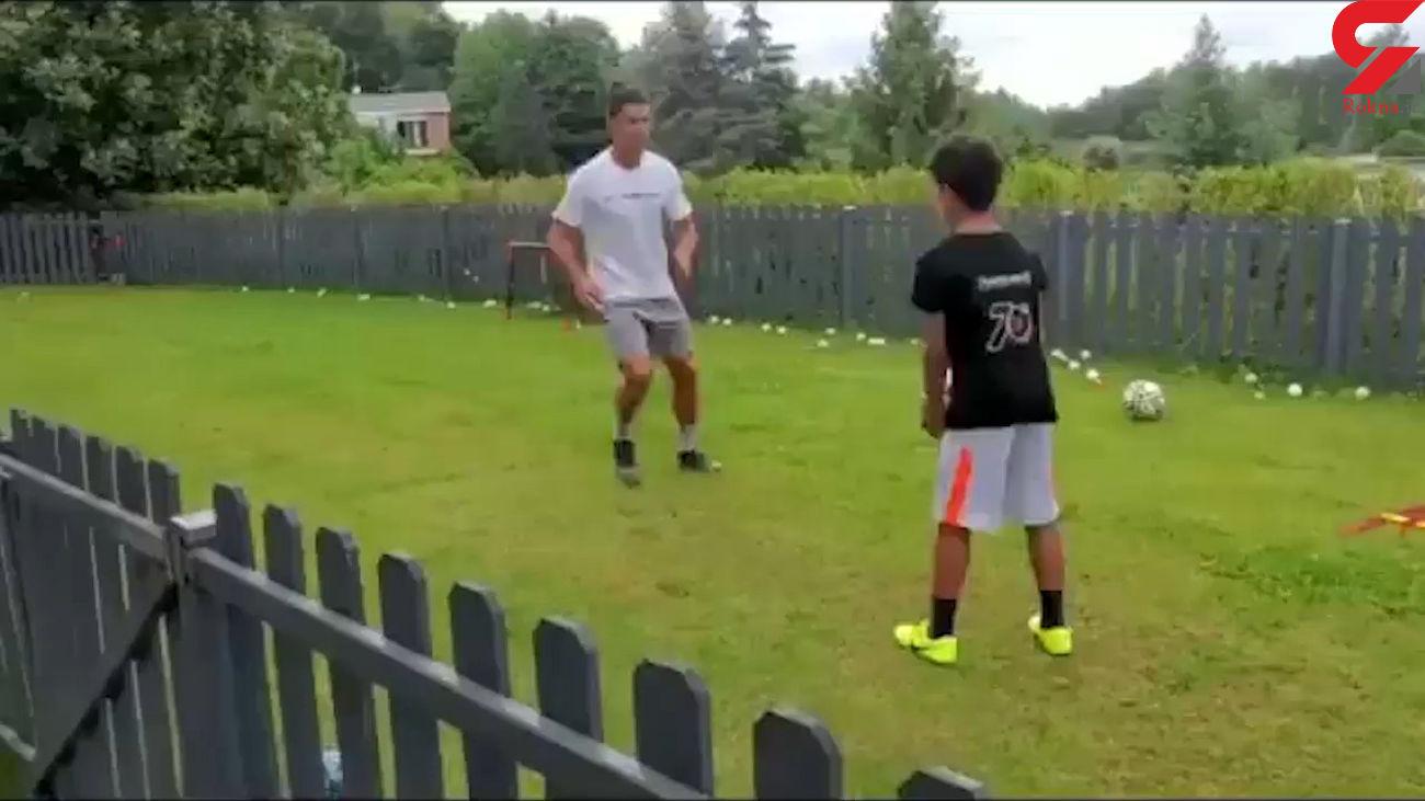 تمرینات فوتبالی رونالدو با پسرش در دوران قرنطینه + فیلم