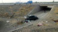 سقوط پراید از پل در جاده نیشابور / دختر 6 ساله کشته شد + عکس دلخراش