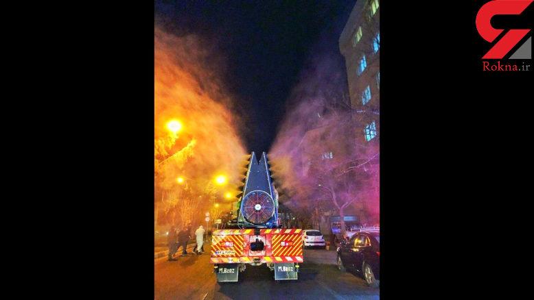نبرد با کرونا در تهران به کمک مه پاش غول پیکر شهرداری + عکس