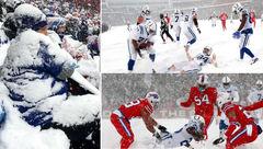تماشای فوتبال آمریکایی در برف و بوران + فیلم