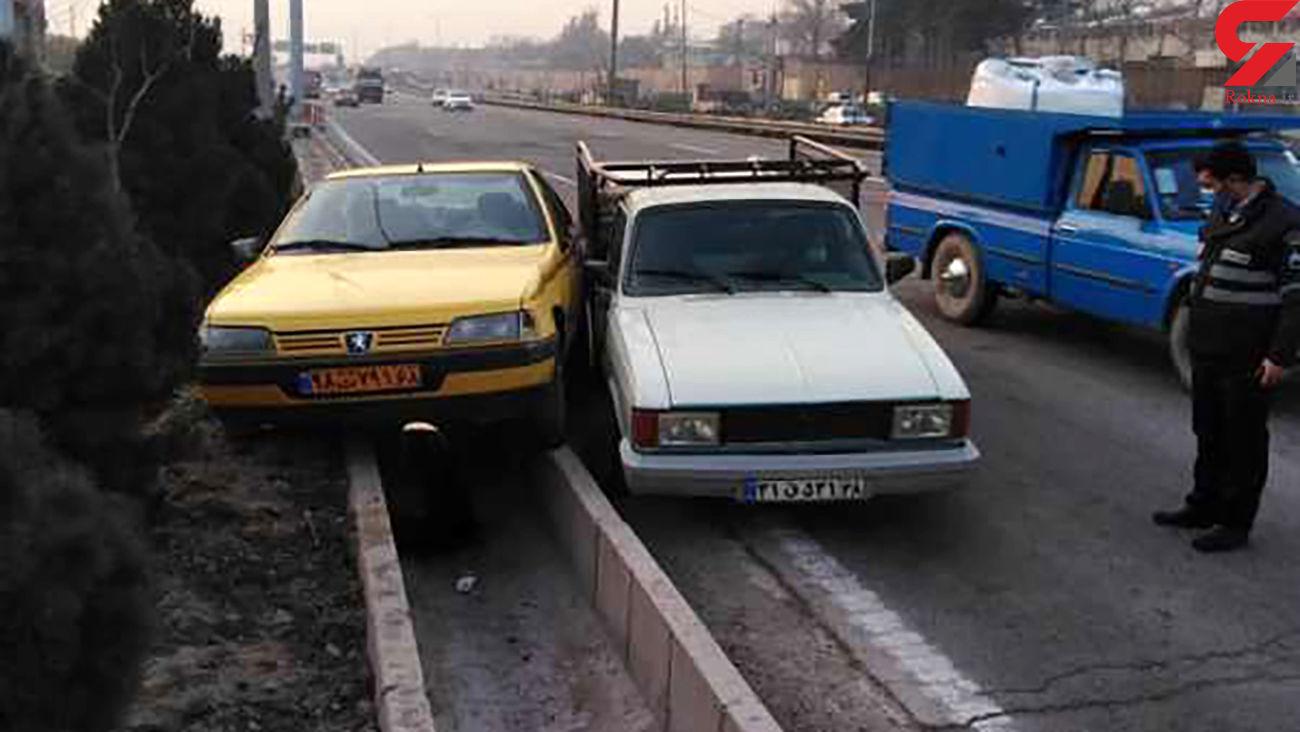 چاله ای که باعث تصادف شد / در تهران رخ داد + عکس