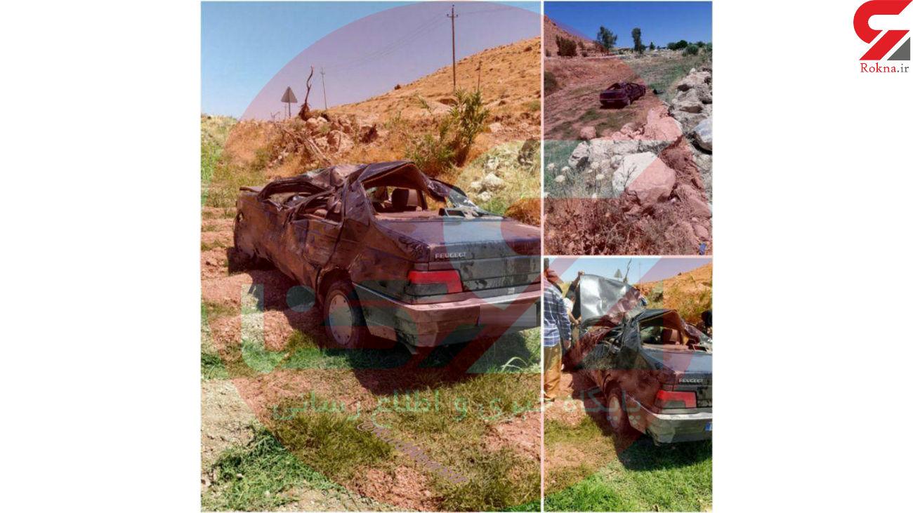 تصاویر / خودروی له شده حمید بقایی در سقوط به دره ای در گیلانغرب