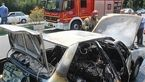 آتش گرفتن پژو ۴۰۵ هنگام حرکت در شهرک اکباتان +عکس