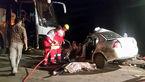 مرگ۴ عضو یک خانواده بر اثر برخورد اتوبوس و خودروی سواری+ عکس