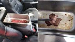 پخته شدن گوشت در ماشین بدون گاز!+عکس