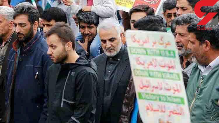 آخرین حضور سردار سلیمانی در راهپیمایی ۲۲ بهمن +عکس