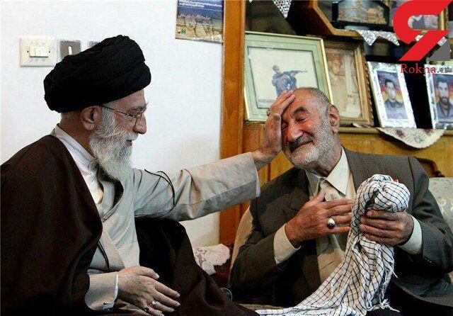 حاج ذبیح الله رضوان مدنی پدر 3 شهید کرمانشاهی درگذشت + عکس حضور رهبر در منزل آن مرحوم
