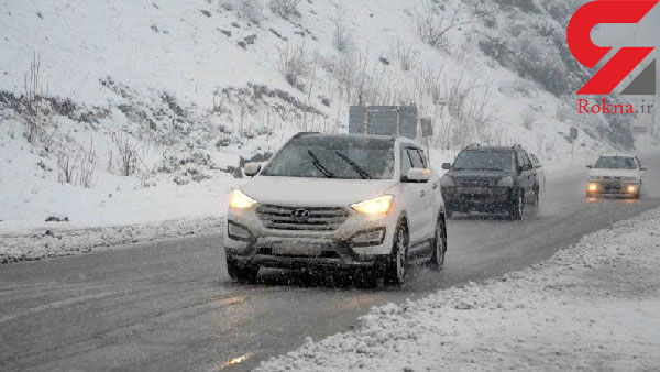 بارش 10 سانتیمتری برف در جاده چالوس