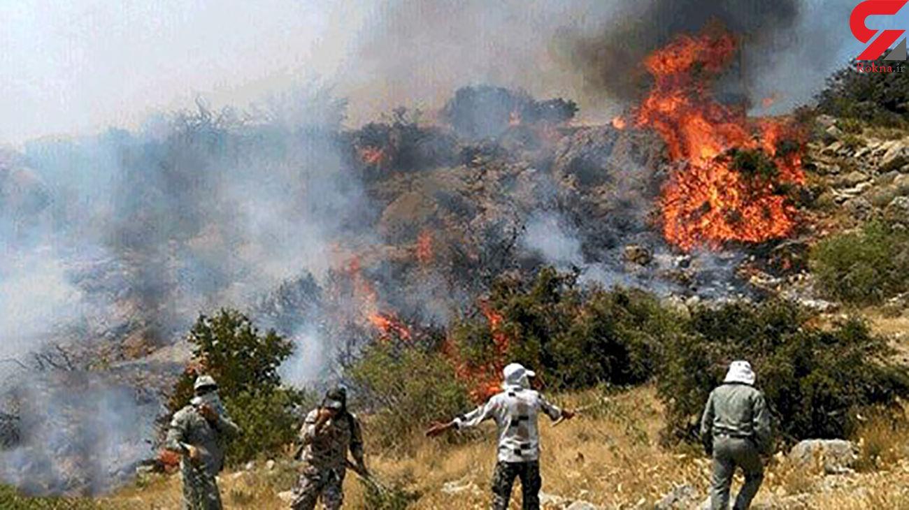 سقوط یک امدادگر از ارتفاع در جریان اطفای حریق/ تلاش برای مهار آتش سوزی دشتگل اندیکا ادامه دارد