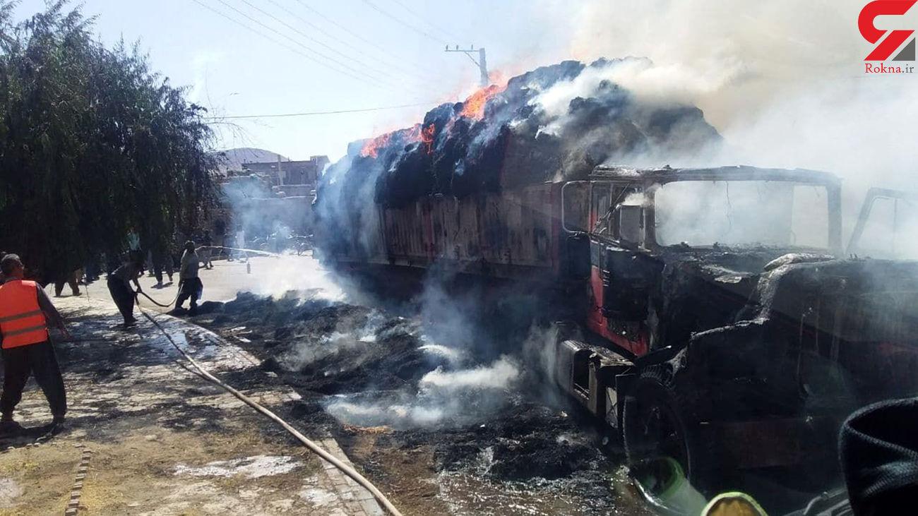 اتصال برق کامیون حامل کاه را در بوکان طعمه آتش کرد