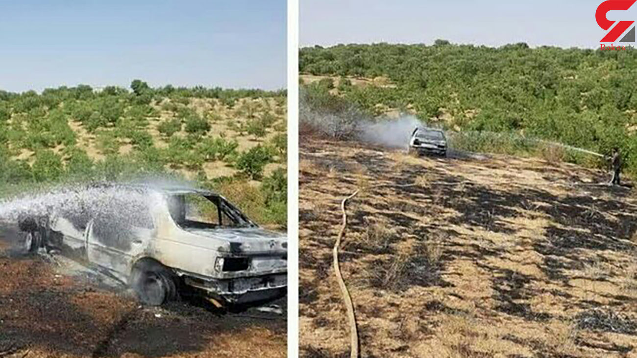 آتش سوزی در باغات شهرستان سامان/ خودرو یک باغدار  در آتش جزغاله شد + عکس