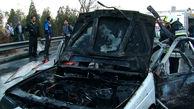 پژو 405 در  پمپ بنزین زاهدان در آتش جزغاله شد