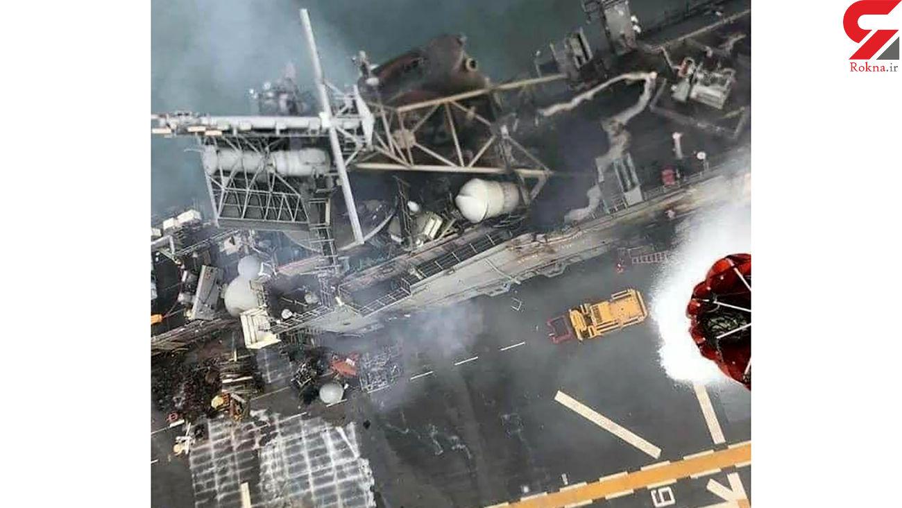 عکس های هوایی از عمق آتش سوزی در ناو هواپیمابر امریکایی
