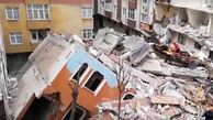 فروریختن یک ساختمان ۷ طبقه در استانبول + فیلم و عکس