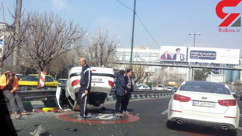 واژگونی خودرو 206 در اتوبان مدرس+عکس