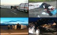 عکس دلخراش از مصدومان تصادف خونین کامیون و مینی بوس در مازندران