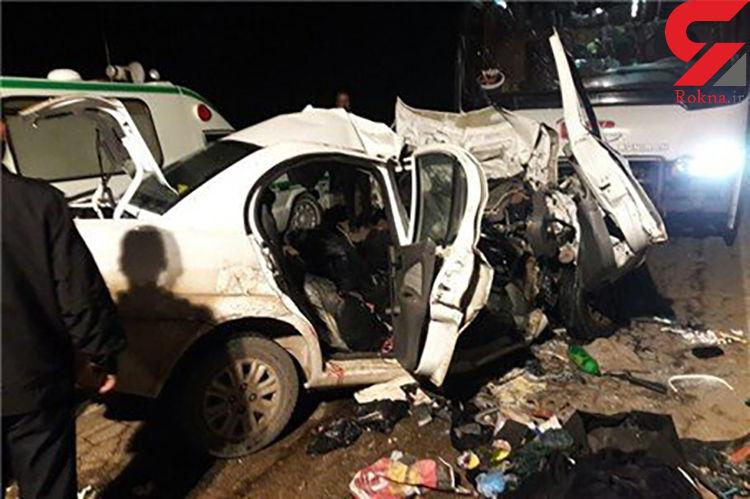 مرگ آنی 5 نفر در تصادف سمند با تریلی / در جاده دامغان- شاهرود رخ داد