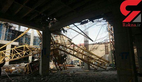 انتشار اولین تصاویر از سقوط خونین جرثقیل عظیم در غرب تهران  + جزییات