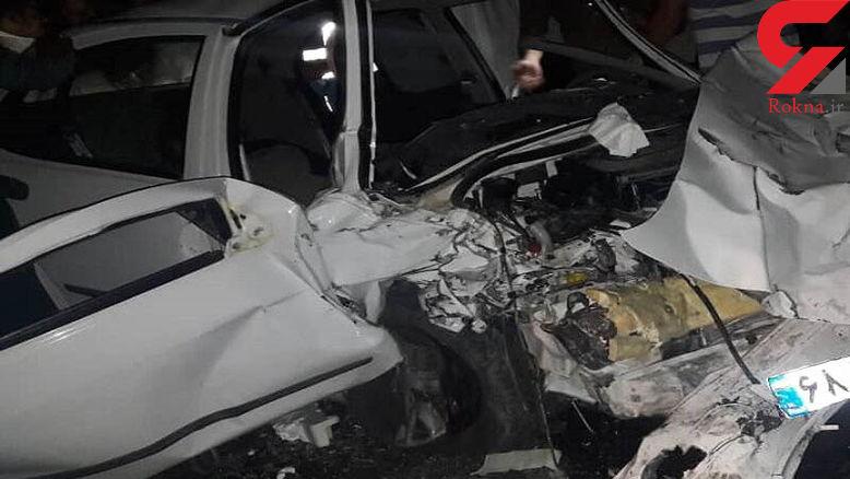 تصادف مرگبار در تصادف 3 خودرو در جاده امیدیه / 2 تن جان باختند+ عکس