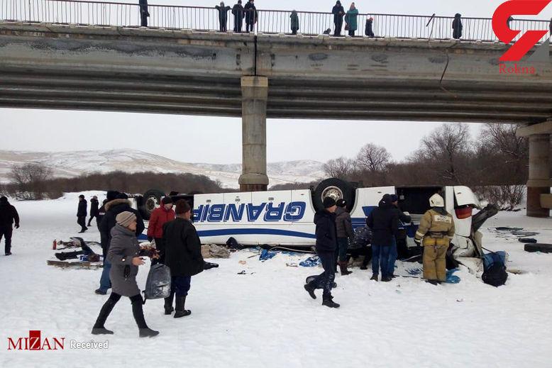 واژگونی وحشتناک اتوبوس در روسیه + عکس