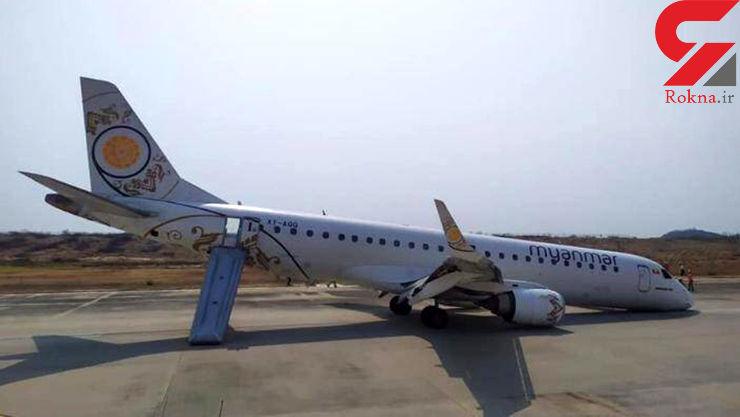 فرود هواپیما بدون چرخ جلو در میانمار+عکس