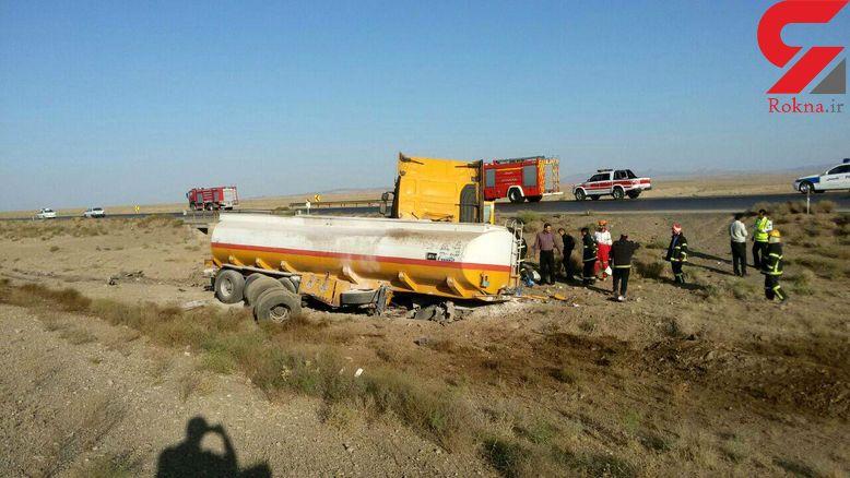 تانکر حامل بنزین هواپیما در جاده سبزوار دچار سانحه شد + عکس